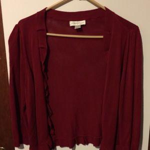 Women's dark wine color light weight cardigan.